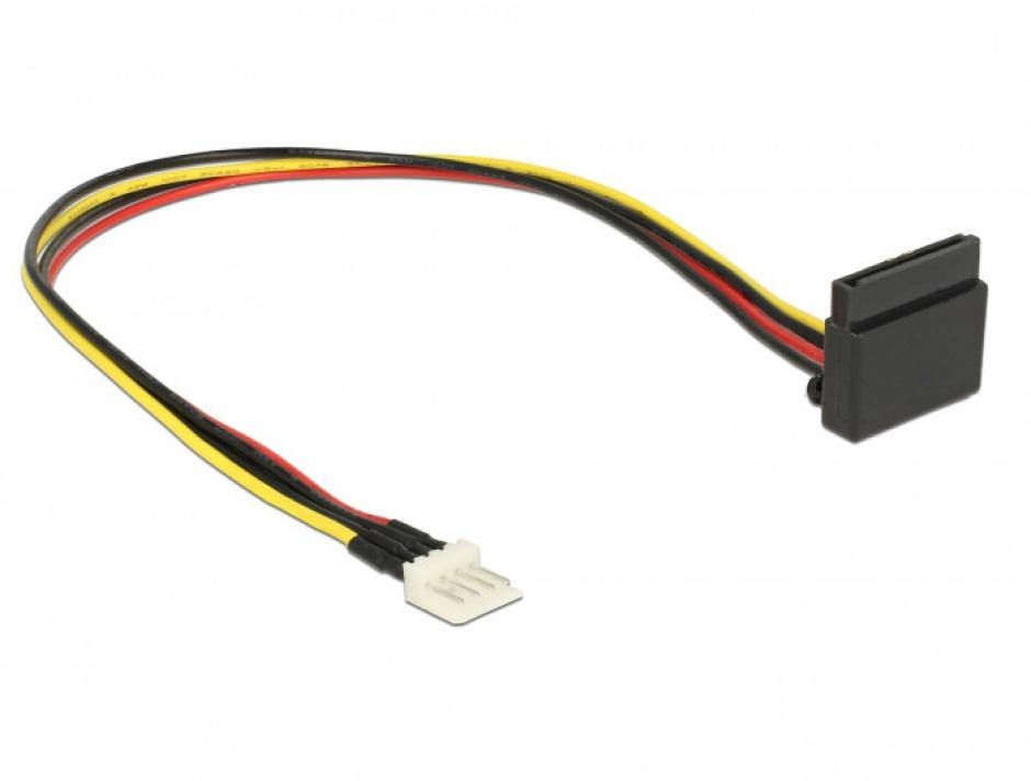 Imagine Cablu alimentare SATA unghi 90 grade la Floppy 4 pini 30cm, Delock 85511 -1