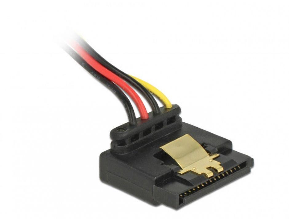Imagine Cablu alimentare SATA unghi 90 grade la Molex 4 pini 30cm, Delock 85513 -2