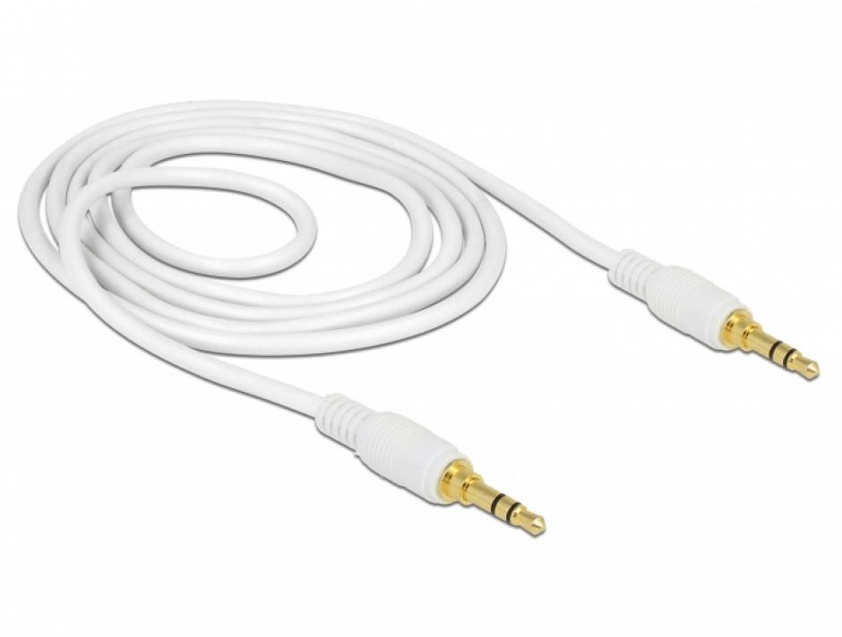 Imagine Cablu stereo jack 3.5mm 3 pini (pentru smartphone cu husa) Alb T-T 1m, Delock 85548-1