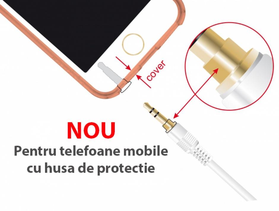 Imagine Cablu prelungitor audio jack 3.5mm (pentru smartphone cu husa) 3 pini T-M 3m Alb, Delock 85589-2