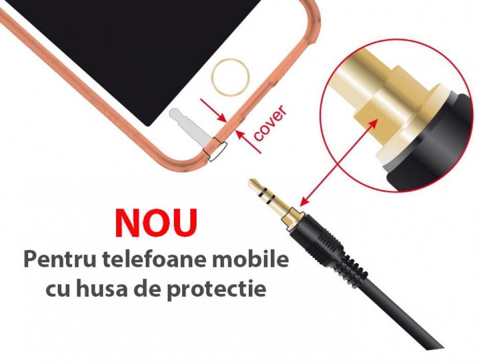 Imagine Cablu prelungitor audio jack 3.5mm (pentru smartphone cu husa) 3 pini T-M 0.5m Negru, Delock 85574-2