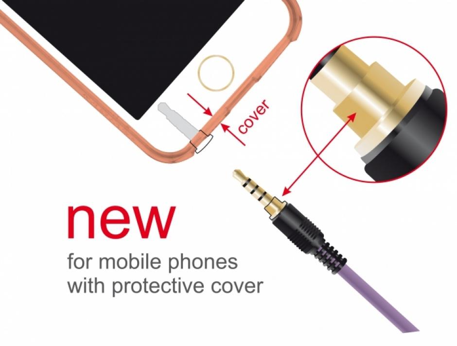 Imagine Cablu prelungitor jack stereo 3.5mm (pentru smartphone cu husa) T-M 4 pini 2m mov, Delock 85624-1