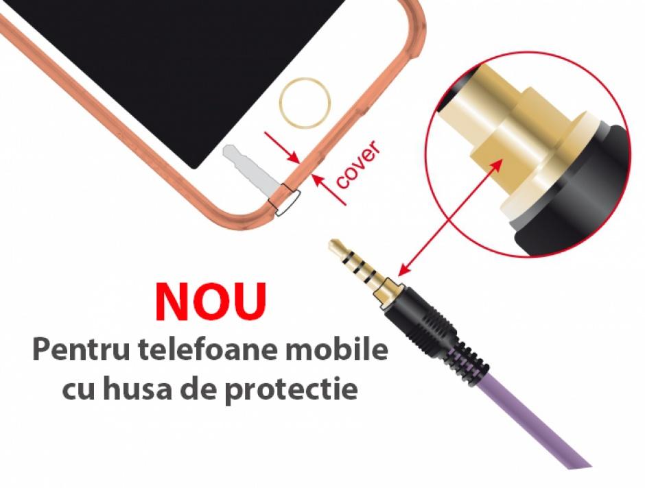 Imagine Cablu stereo jack 3.5mm 4 pini (pentru smartphone cu husa) unghi Mov T-T 0.5m, Delock 85608-2