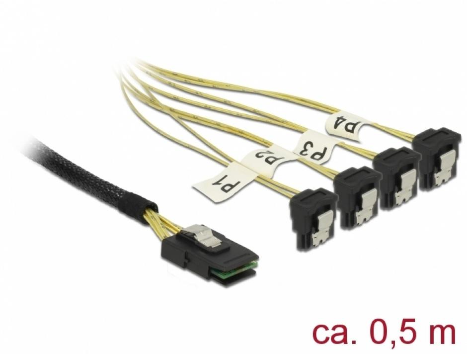 Imagine Cablu Mini SAS SFF-8087 la 4 x SATA unghi 0.5m, Delock 85686