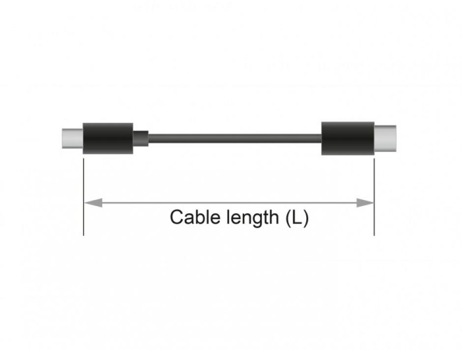 Imagine Cablu prelungitor jack stereo 3.5mm 5 pini T-M Negru 2m, Delock 85702-2