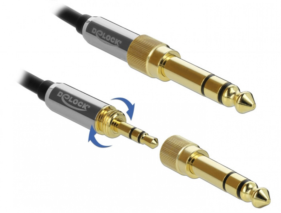 Imagine Cablu prelungitor jack stereo 3.5mm 3 pini T-M + adaptor cu surub 6.35 mm 0.5m, Delock 85779-3
