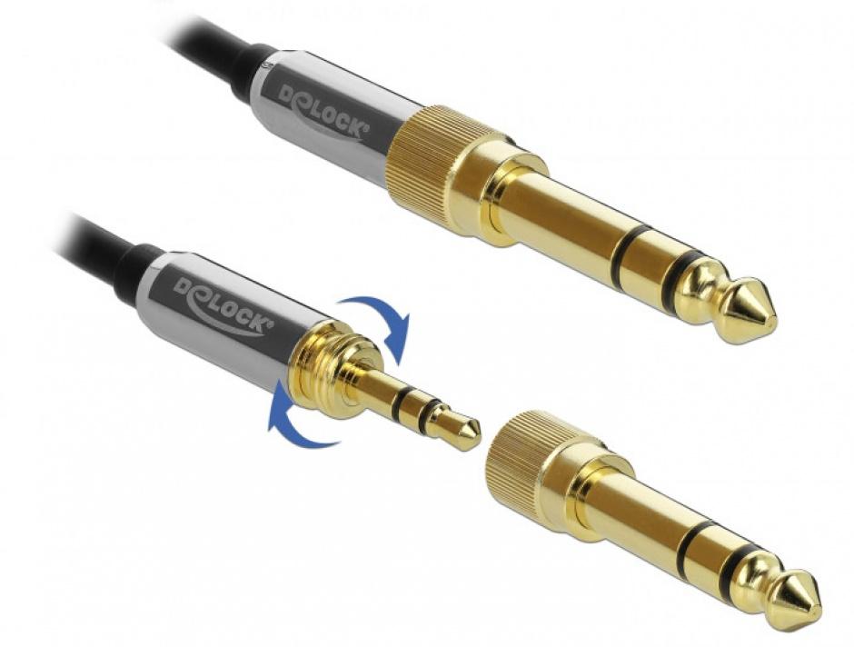 Imagine Cablu prelungitor jack stereo 3.5mm 3 pini T-M + adaptor cu surub 6.35 mm 2m, Delock 85781-3