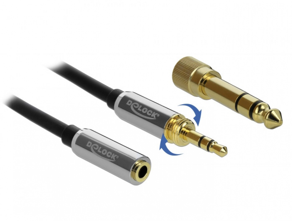 Imagine Cablu prelungitor jack stereo 3.5mm 3 pini T-M + adaptor cu surub 6.35 mm 3m, Delock 85782