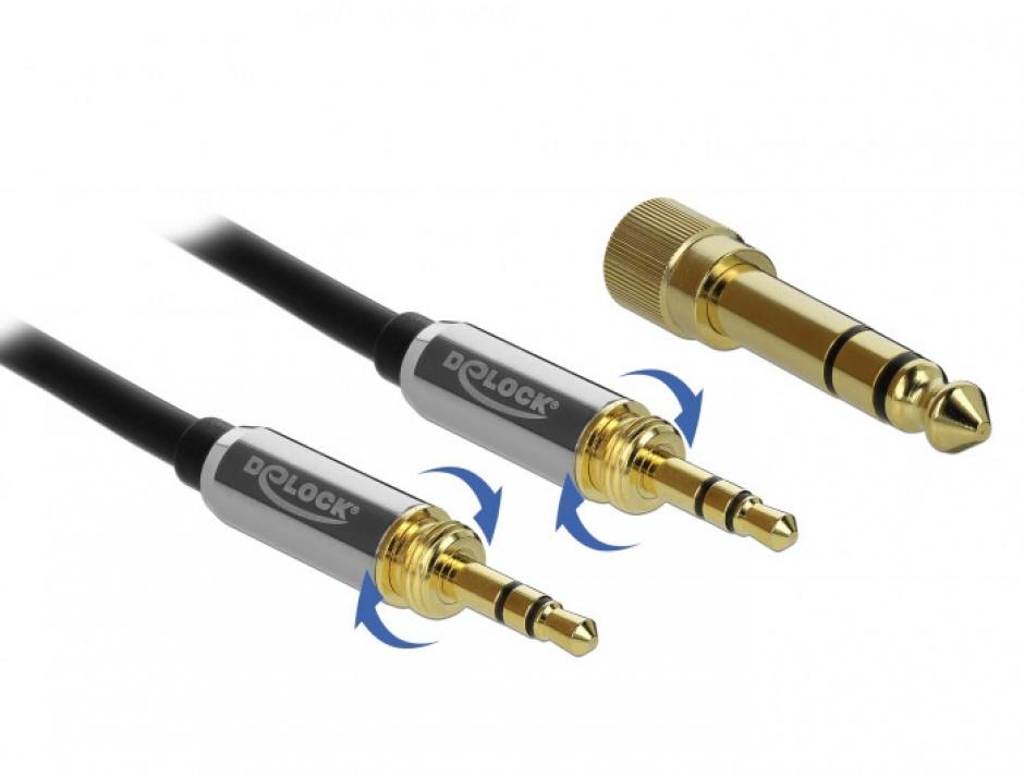 Imagine Cablu jack stereo 3.5mm 3 pini T-T + adaptor cu surub 6.35 mm 2m, Delock 85786