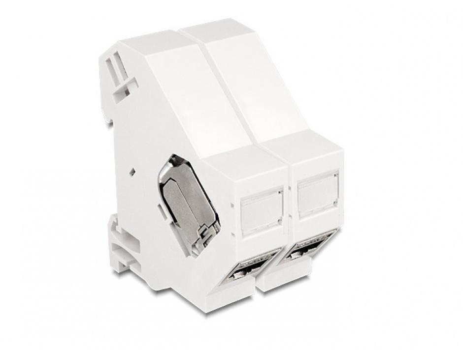 Imagine Suport de montare Keystone pentru DIN rail cu impamantare, Delock 86232