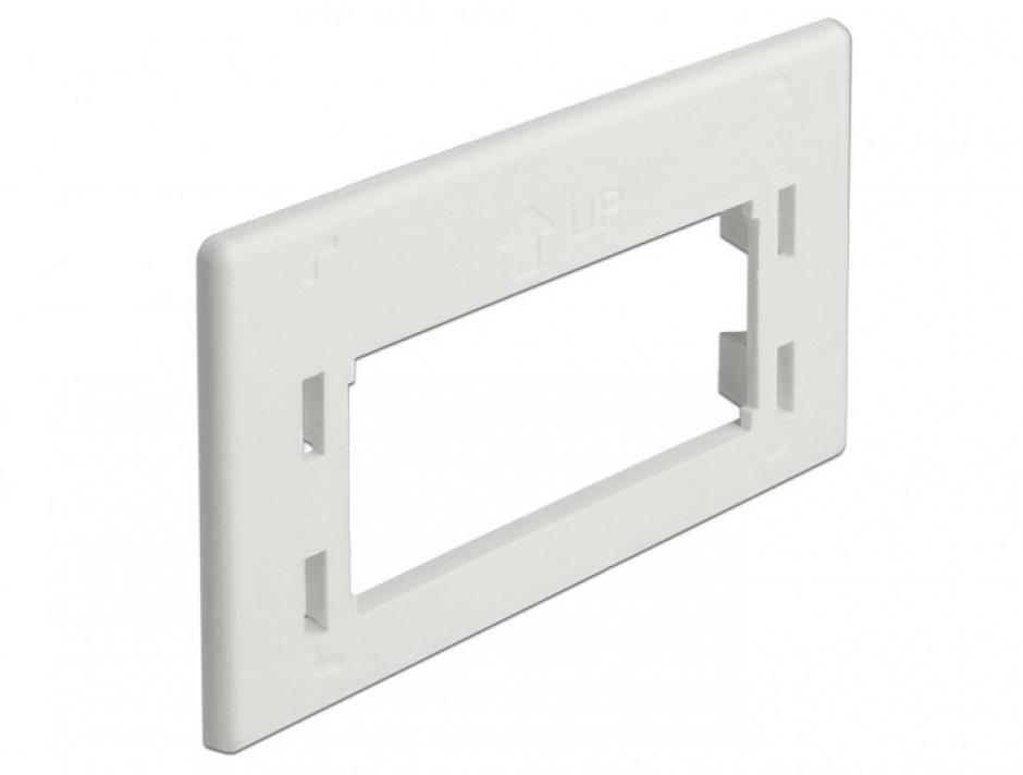 Imagine Placa de adaptare keystone pentru priza de instalare in mobilier Alb, Delock 86290