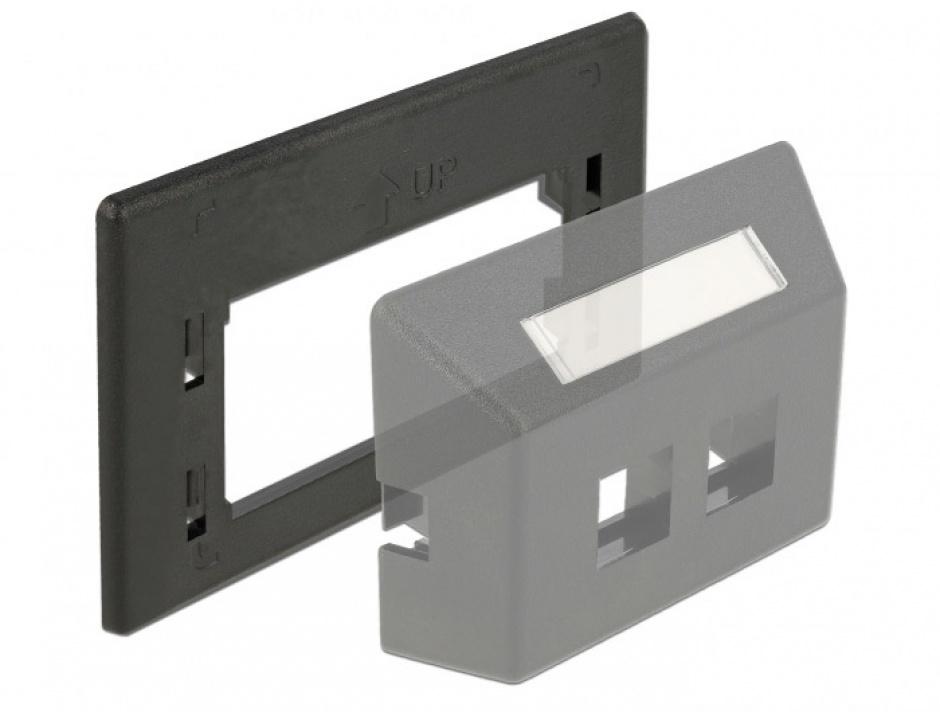 Imagine Placa de adaptare keystone pentru priza de instalare in mobilier Negru, Delock 86294-1