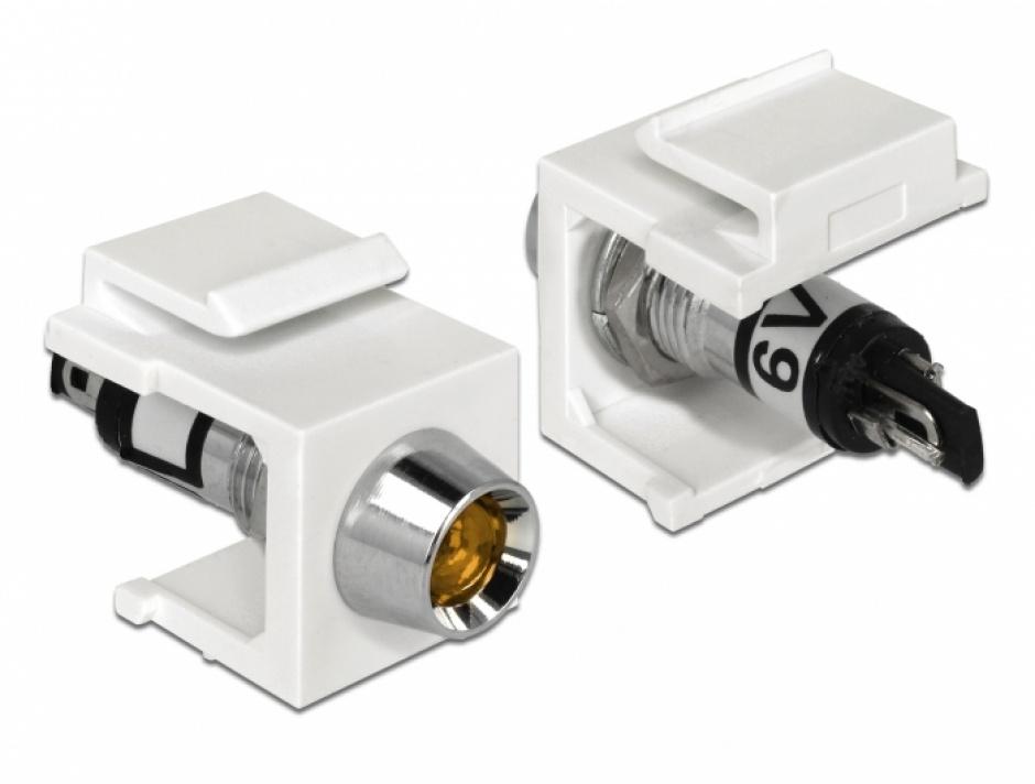 Imagine Keystone alb cu LED portocaliu 6V, Delock 86449