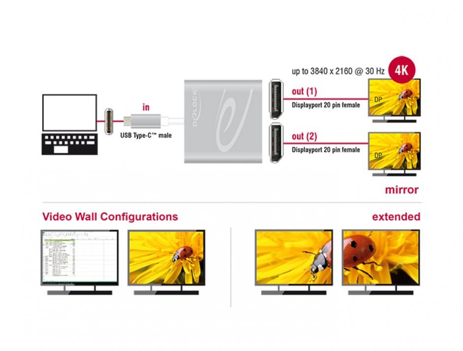 Imagine Multiplicator USB-C (DP Alt Mode) la 2 x Displayport 4K 30 Hz, Delock 87714-1