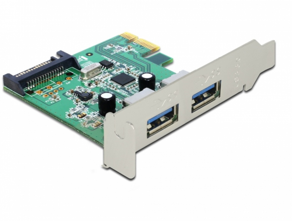 Imagine PCI Express x1 cu 2 x USB 3.0, Delock 89356