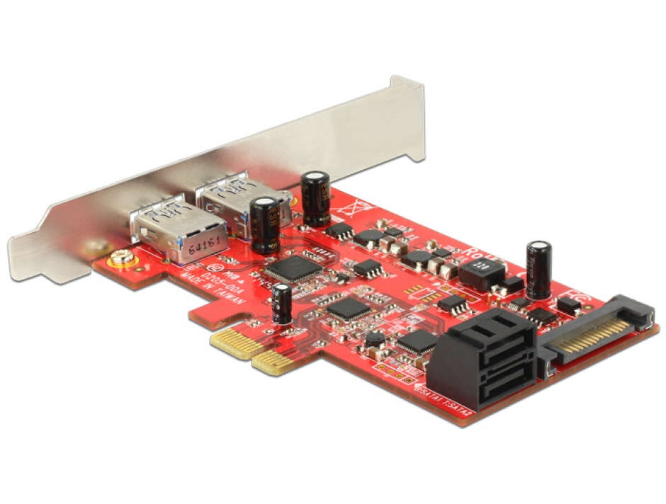 Imagine PCI Express cu 2 x USB 3.0 externe + 2 x SATA 6 Gb/s interne, Delock 89389