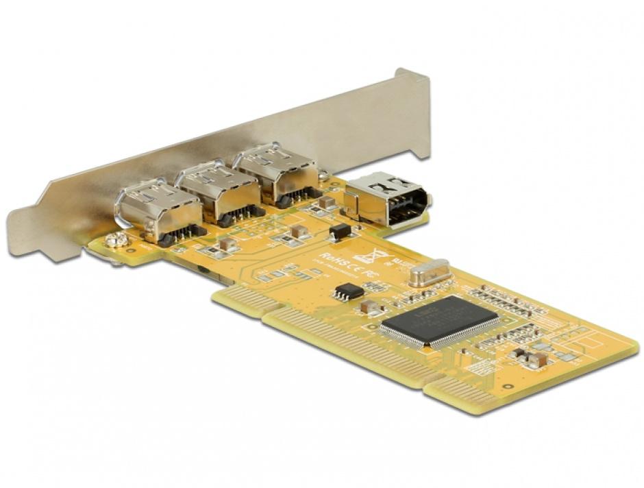 Imagine PCI Card cu 3 x external + 1 x internal FireWire A, Delock 89443-1