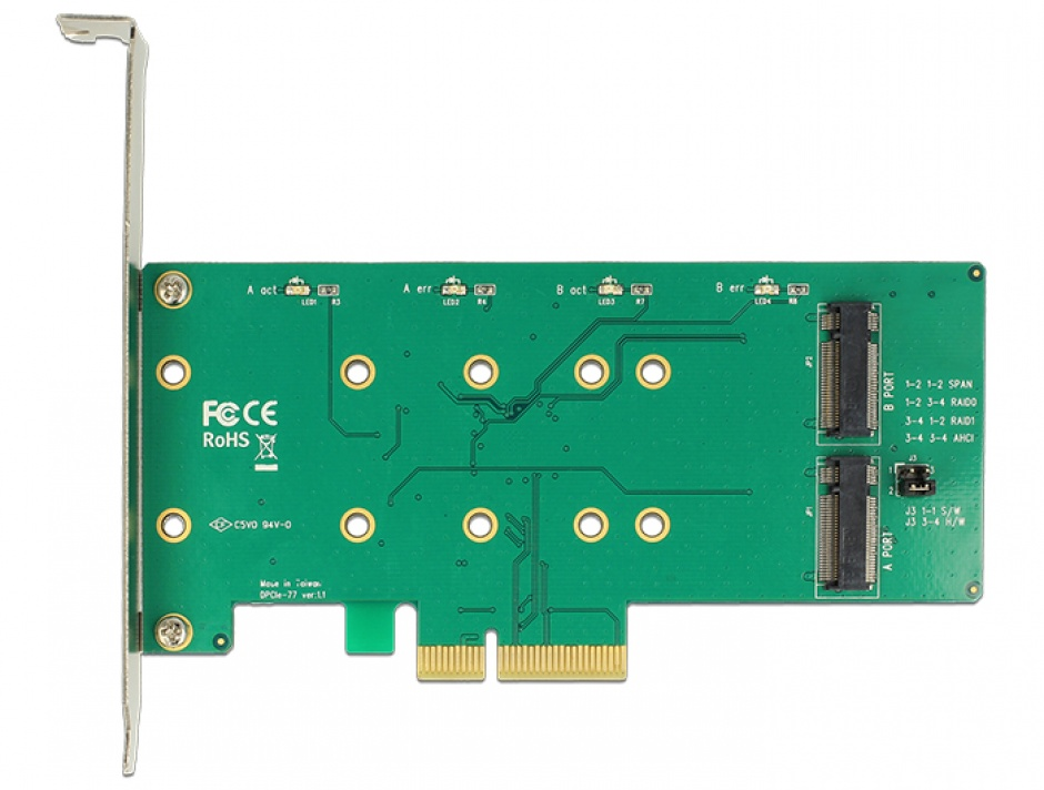 Imagine PCI Express cu 2 x M.2 Key B cu RAID, Delock 89536