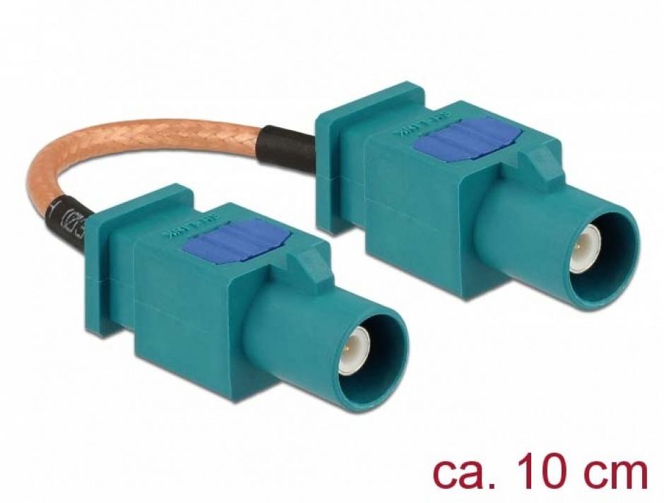 Imagine Cablu antena FAKRA Z plug la FAKRA Z plug RG-316 10cm, Delock 89663