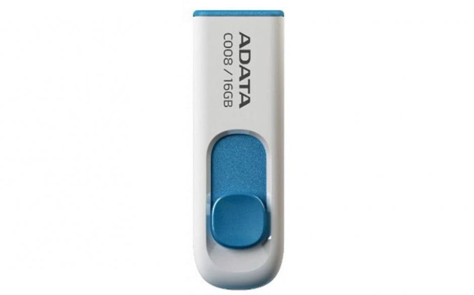 Imagine Stick USB 2.0 retractabil 16GB C008 Alb&Bleu, ADATA