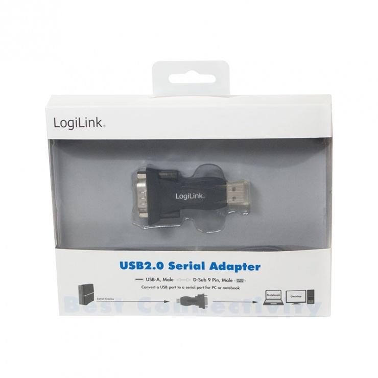 Imagine Adaptor USB la Serial DB9 RS232, Logilink AU0002E-2