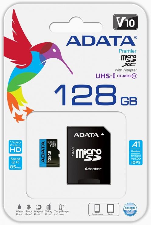 Imagine Card de memorie MicroSD SDXC 128GB clasa 10 + adaptor SD, ADATA-2