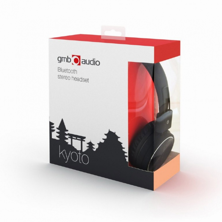 Imagine Casti bluetooth v4.2 + EDR cu microfon Kyoto Negru, Gembird BHP-KIX-BK-2