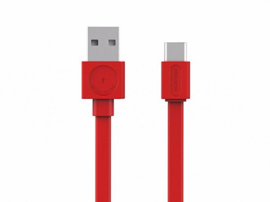 Imagine Cablu de date si incarcare USB 2.0-A la tip C 1.5m Rosu, Allocacoc