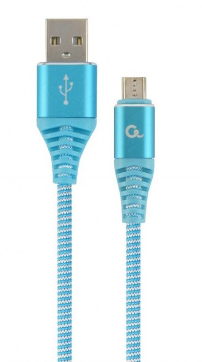 Imagine Cablu USB 2.0 la micro USB-B Premium T-T 1m Bleu/Alb brodat, Gembird CC-USB2B-AMmBM-1M-VW