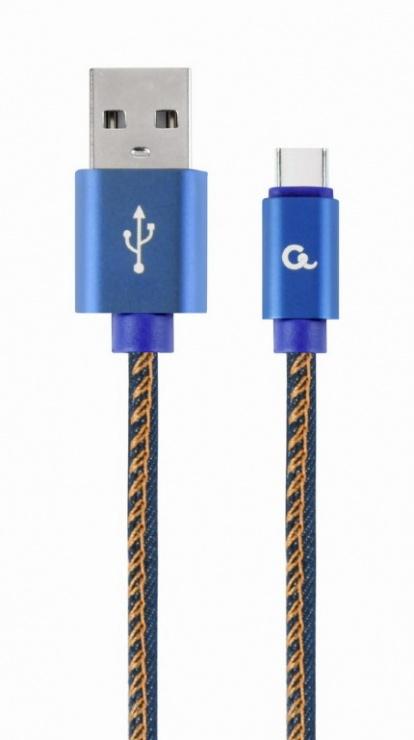 Imagine Cablu USB 2.0 la USB-C Premium jeans (denim) 1m, Gembird CC-USB2J-AMCM-1M-BL