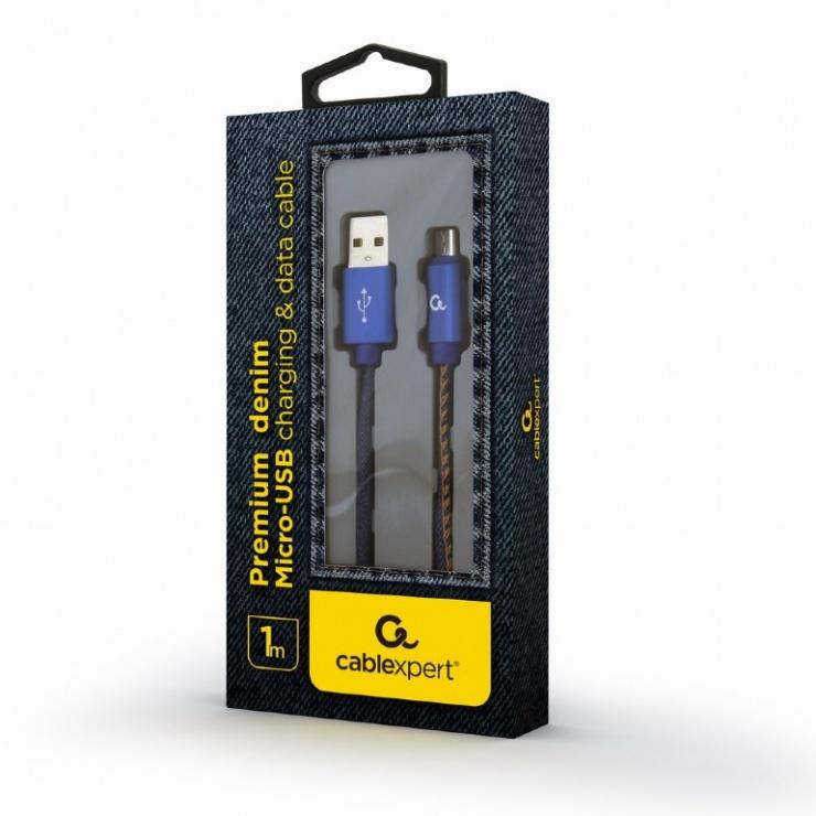 Imagine Cablu micro USB-B la USB 2.0 Premium jeans (denim) 1m, Gembird CC-USB2J-AMmBM-1M-BL-1