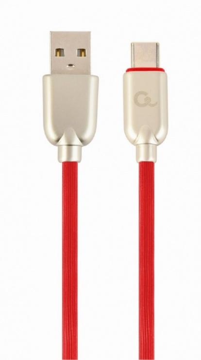 Imagine Cablu USB 2.0 la USB-C Premium 2m Rosu, Gembird CC-USB2R-AMCM-2M-R