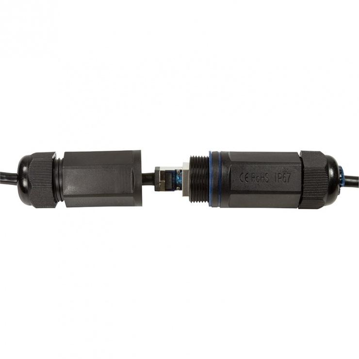 Imagine Cablu de retea S/FTP RJ45 pentru exterior CAT.6A 5m Negru, Logilink CQ7073S-5