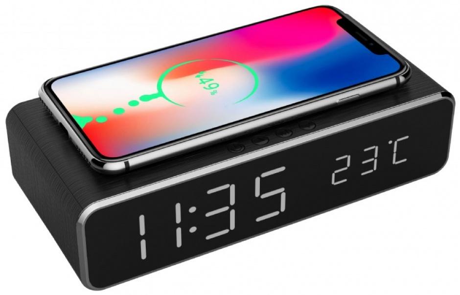 Imagine Ceas digital LCD cu alarma si incarcare wireless 5W Negru, Gembird DAC-WPC-01
