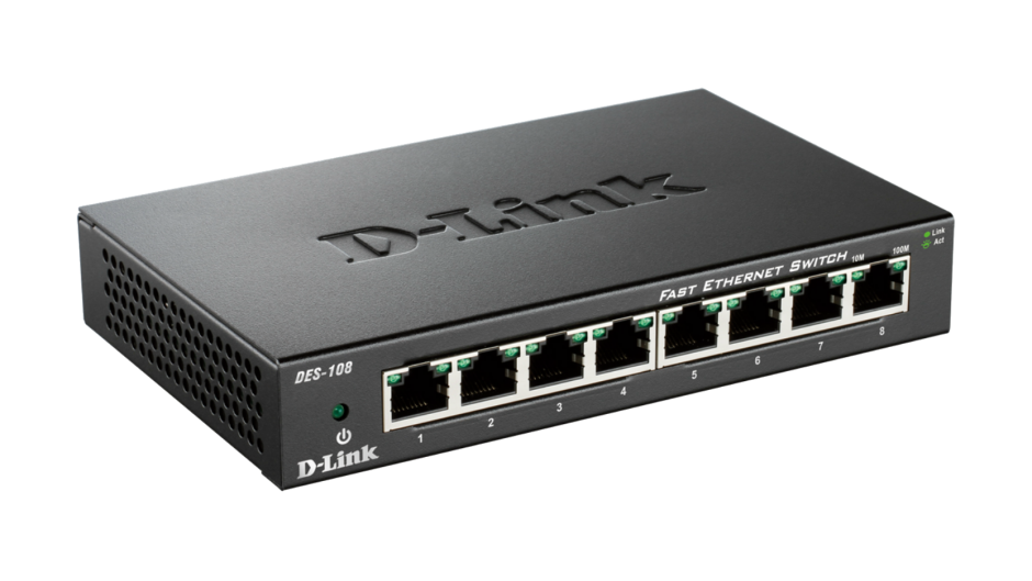 Imagine Switch 8 porturi 10/100 Mb/s carcasa metalica, D-LINK DES-108