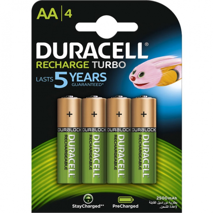Imagine Set 4 acumulatori AA 2500 mAh Turbo, Duracell