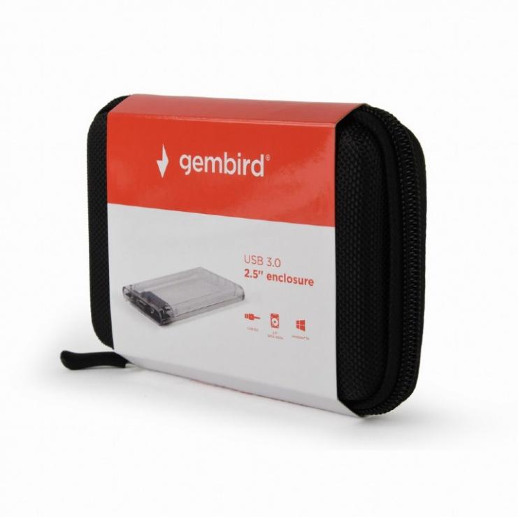 "Imagine Rack extern 2.5"" USB 3.0 la SATA HDD Transparent, Gembird EE2-U3S9-6-5"