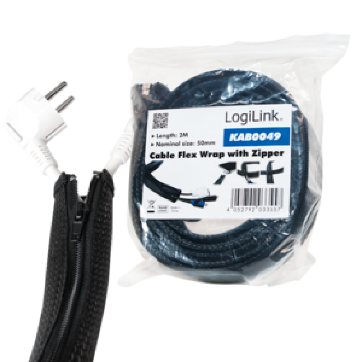 Imagine Plasa pentru fixarea cablurilor cu fermoar 50x35x2000mm Negru, Logilink KAB0049