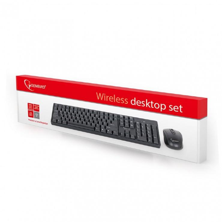 Imagine Kit tastatura si mouse wireless Negru, Gembird KBS-W-01-3