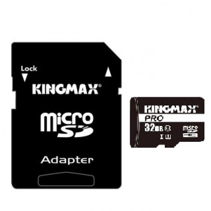 Imagine Card de memorie micro SDHC 32GB clasa 10 PRO + adaptor SD, Kingmax-4