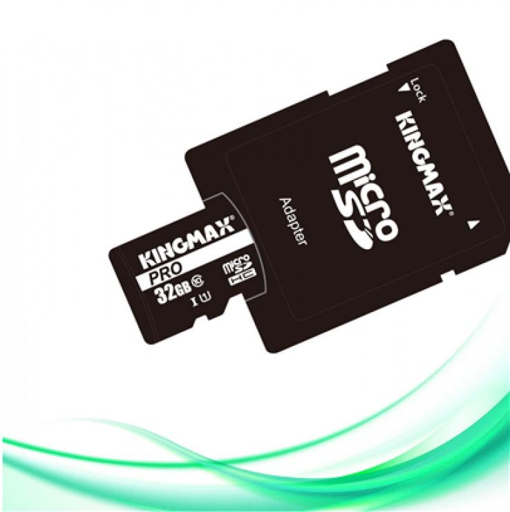 Imagine Card de memorie micro SDHC 32GB clasa 10 PRO + adaptor SD, Kingmax KM-PS04-32GB-PRO