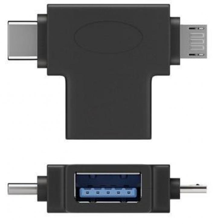 Imagine Adaptor OTG USB-A la USB-C + micro USB-B M-T Negru, 55554