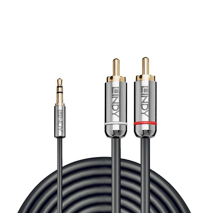 Imagine Cablu audio jack 3.5mm la 2 x RCA 0.5m T-T Antracit Cromo Line, Lindy L35332-1