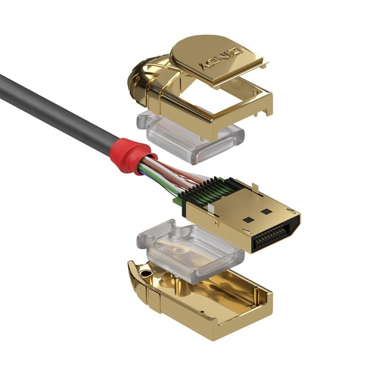 Imagine Cablu Displayport 8K UHD (DP certificat) v1.4 T-T 2m Gold Line, Lindy L36292-2
