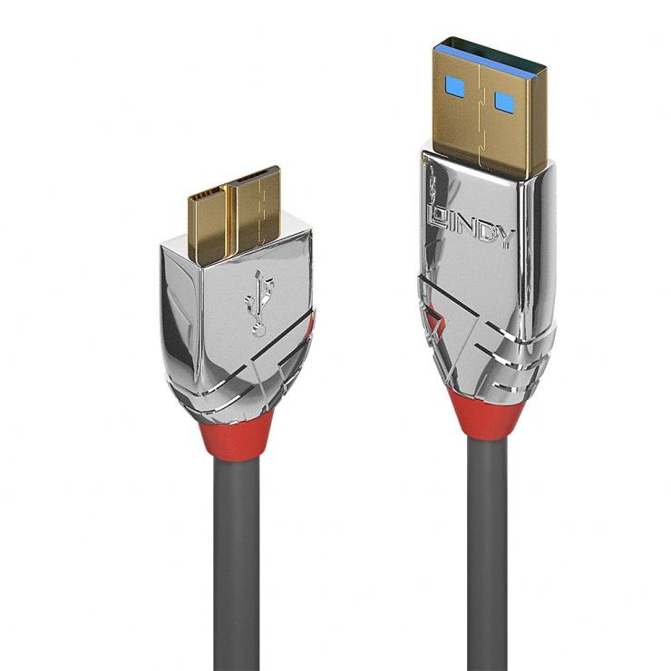 Imagine Cablu micro USB-B 3.0 la USB-A 0.5m CROMO Line, Lindy L36656