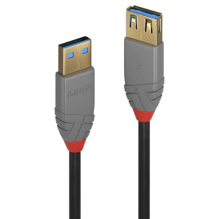 Imagine Cablu prelungitor USB 3.0 T-M 3m Anthra Line, Lindy L36763