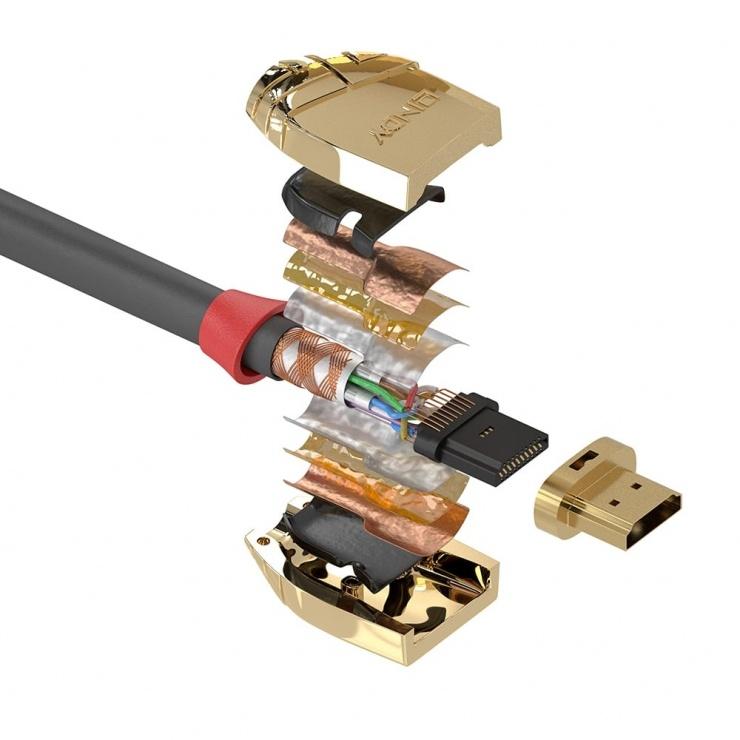 Imagine Cablu HDMI UHD 4K Gold Line 10m T-T, Lindy L37866-2