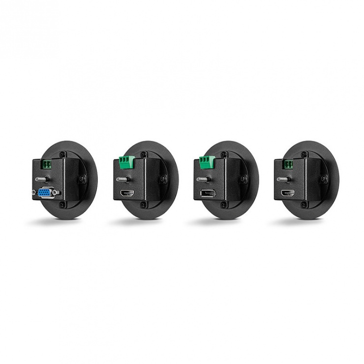 Imagine Switch HDMI / DisplayPort / VGA + audio la HDMI 4K@60Hz cu kit Table Grommet, Lindy L38282-2