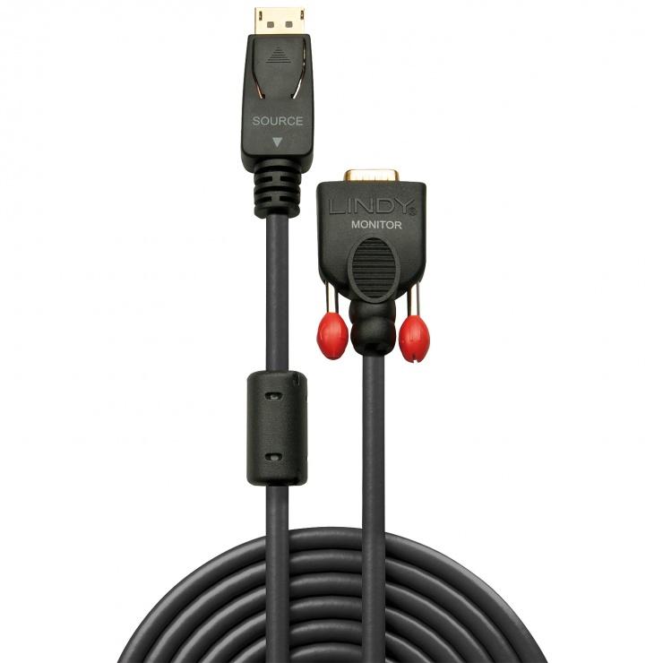 Imagine Cablu Displayport la VGA T-T Negru 3m, Lindy L41943-1