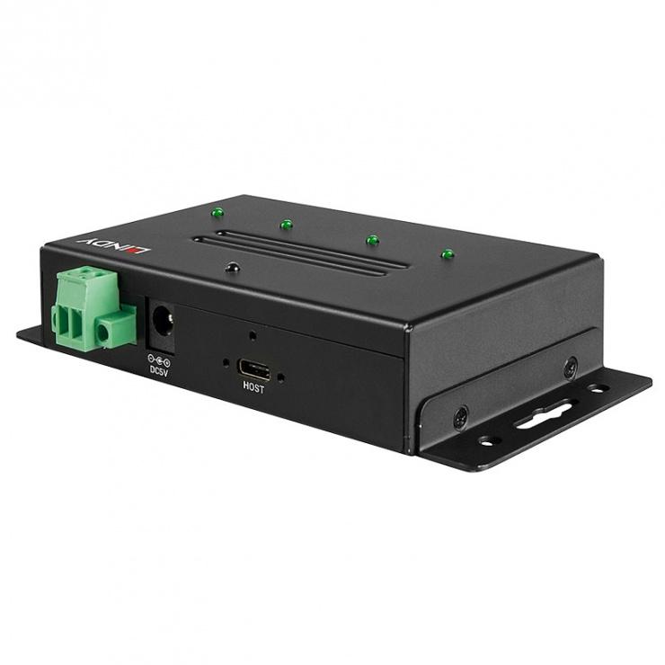 Imagine HUB 4 porturi USB 3.1 Gen 2 (2 x USB-A + 2 x USB-C) metalic, Lindy L43094-1